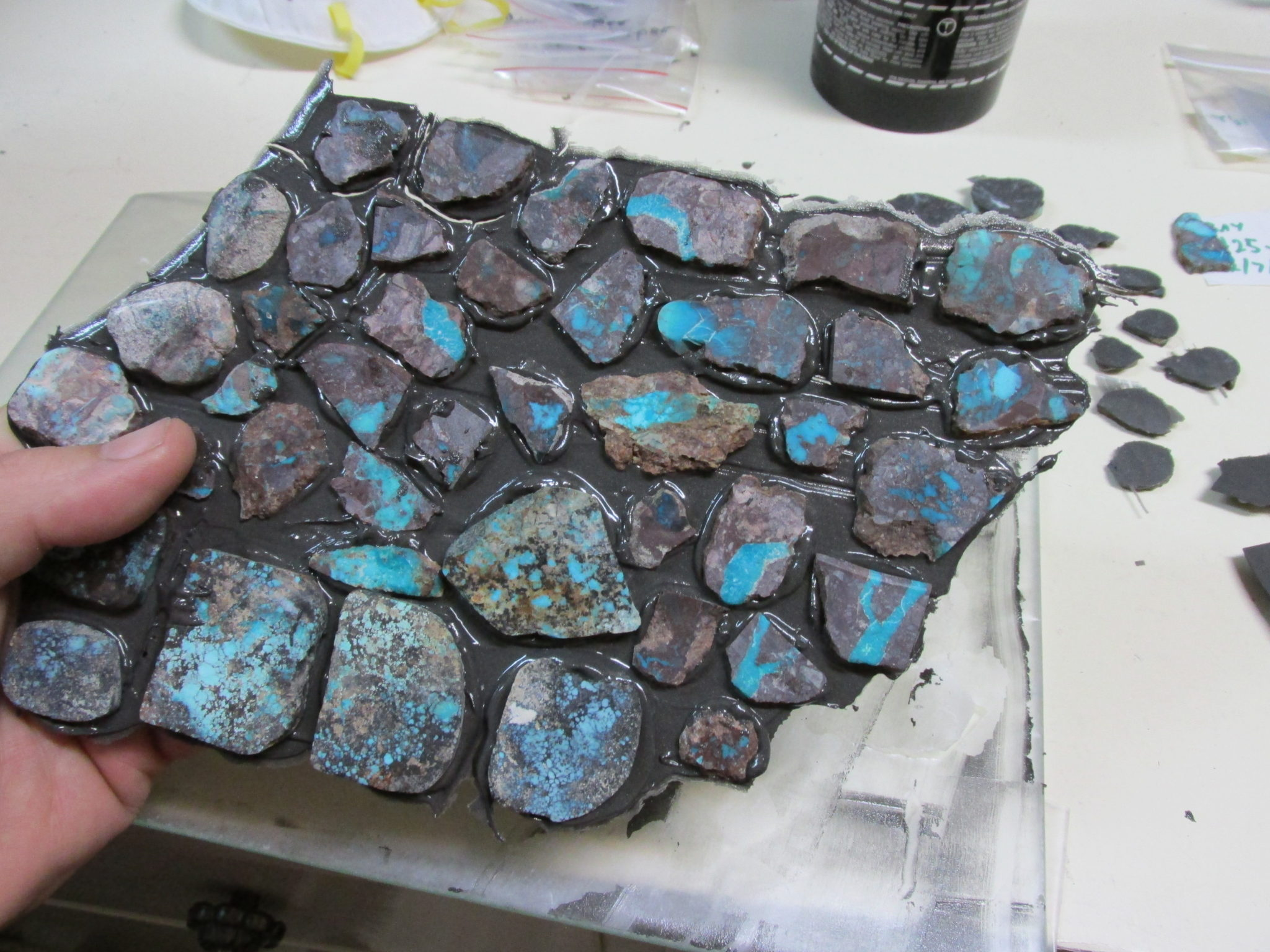 Bisbee turquoise slabs with Devcon backing
